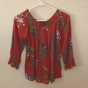 Desigual Small soft red floral blouse